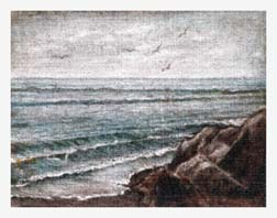 Painting of Seagulls Over the Ocean