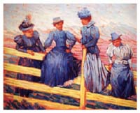 Four Women on a Fence